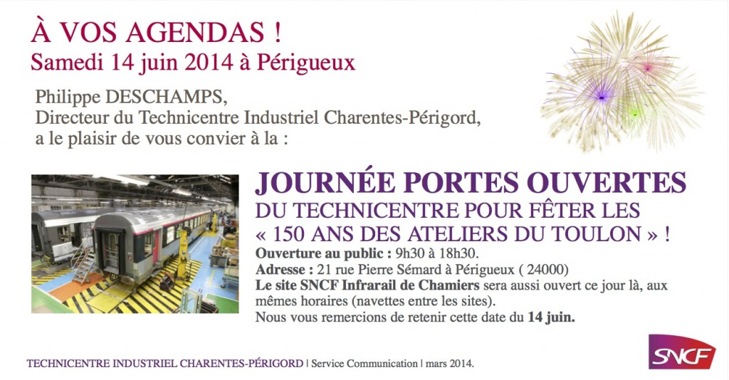 A vos Agendas ! Journée Portes Ouvertes du Technicentre SNCF à Périgueux-Chamiers (Dordogne)